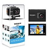 WONGKUO Upgraded Action Camera 4K 20MP Ultra HD WiFi Sport Camera with EIS 30m Waterproof Camera 170°Wide Angle Camcorder 2' LCD Screen Support External Microphone Remote Control with Accessories Kit