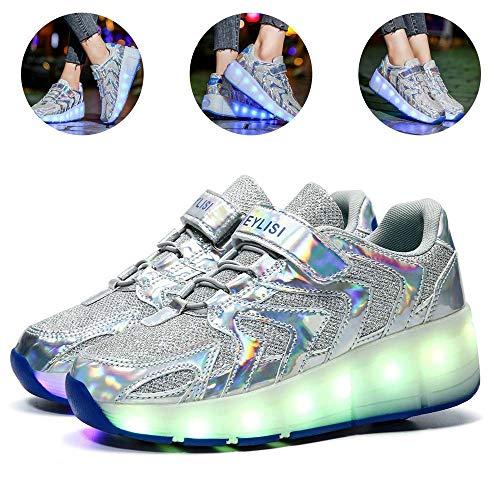 USB Rechargeable Clignotante Chaussures à roulettes, 7 Colorés LED Roller Chaussures de Skateboard Baskets Lumineuse avec Roues Sport Multisports Gymnastique pour Garçons FillesSilver-39