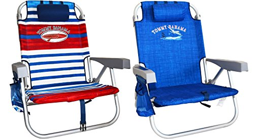 2 Tommy Bahama 2016 Backpack Cooler Beach Chair with Storage Pouch and Towel Bar (Red/White/Blue & Blue Weave)
