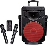 PA System with LED Party Lights, Wireless Portable Bluetooth Audio Speaker with 2 Wireless...