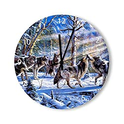 Round Wood Wall Clock Home Decor,Wolf Painting Wolf Art Wolf Illustration Large Clock pattern, Battery Operated, no ticking sound, for home, the Kitchen, Living Room, Bedroom, Restaurant or Office