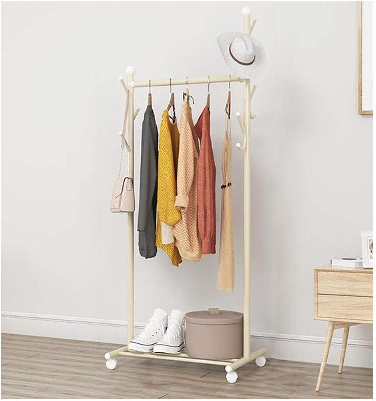 Drying Rack, Floor-Standing Simple Hanger Clothes Rail Single Pole Bedroom Indoor Mobile Coat Rack (Size   56CM)