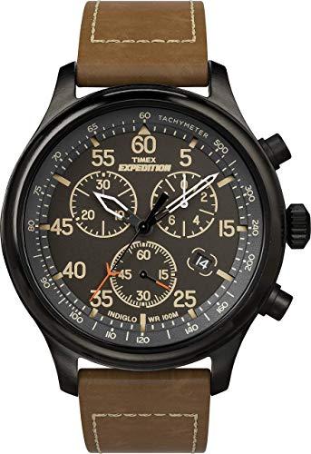 Timex Expedition 43mm Reloj cronógrafo Hombre con Correa de Cuero marrón TW4B20800