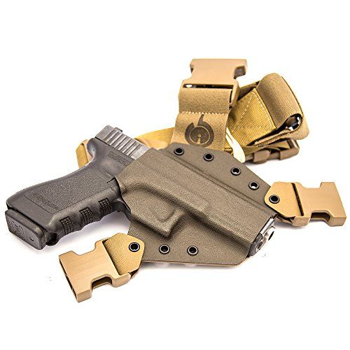 GunfightersINC Kenai Chest Holster for a Glock 17/19/22/23/31/32, Fits All Gen's, MOS Open, Right Hand, Mas/Grey-Coyote Tan