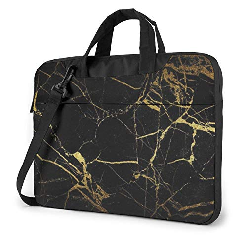 XCNGG Shockproof Laptop Bag Black Gold Marble Computer Bag Durable Case Sleeve 360¡ã Protective Laptop Briefcase