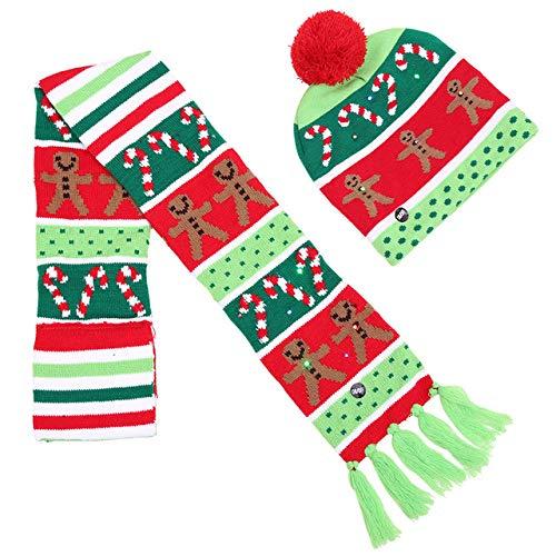 XNKLM Sombrero de Navidad Niños adultos Bola de colores Sombrero Sombrero de punto de luz led de Navidad Conjunto de bufanda para decoración de año nuevo, oliva