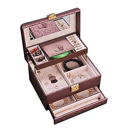 Organizador de Caja de joyería de Cuero Diseño semienlazado Caja de Almacenamiento de joyería de múltiples Capas con Cerradura Organizador Estuche de Viaje para Anillo Collar Pendiente Pendi