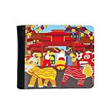 DIYthinker Danza del León Chino Costumbre Ciudad De China Flip Doble Pliegue Billetera De Cuero De Imitación De Múltiples Funciones De La Tarjeta De Regalo del Monedero