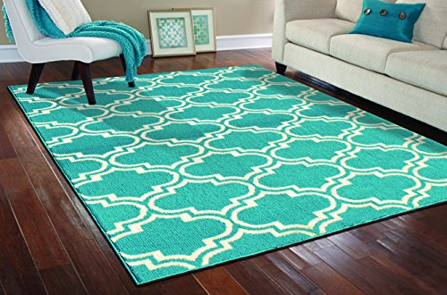 Garland Rug Silhouette Area Rug, 8 by 10-Inch, Teal/Ivory