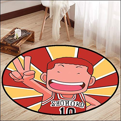 WYBY Creative Fashion Carpet-Basketball Animation Team Alfombra Redonda: Adecuado para Sala de Estar Sofá Tabla de café Dormitorio Dormitorio Dormitorio 160cm