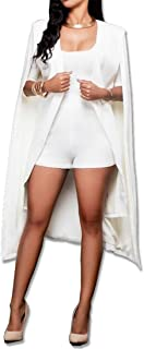 Women Casual Open Front Cape Cloak Trench Duster Coat Longline Blazer Suit Coat