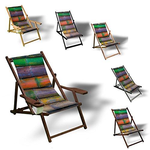 Printalio - Bambus bunt - Liegestuhl Bedruckt Balkon Garten Sonnenliege Relax Holz Terrasse | mit Armlehne, Dunkelbraun