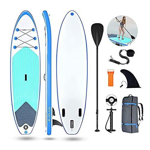 Bluniza 10'5'' Tabla Hinchable Stand Up Paddle Board Tablas Paddle Surf, con Remo de Aluminio/Bomba/Aleta Desprendible/Kit de Reparación/Accesorios Completos (315x76x15cm, Carga hasta: 159kg)