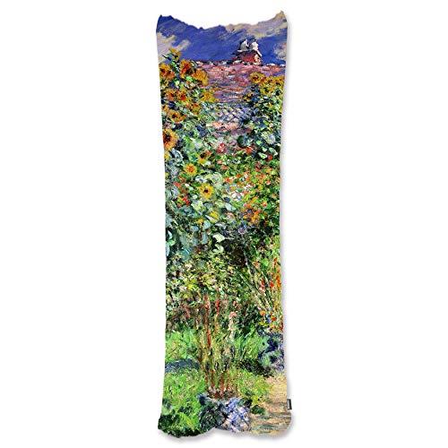 BONNIU Funda Decorativa Cojin con Cremallera 50X135 cm Protectores Almohada Terciopelo Paisaje Dakimakura Cover - Monet - El Jardín De Monet En Vétheuil 1880
