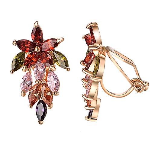 Yoursfs - Orecchini a clip con cristalli austriaci rotondi, strass, per donne e ragazze