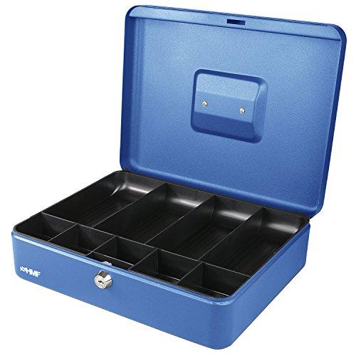 HMF 10019-05 Caja de caudales con compartimientos para monedas y billetes 30 x 24 x 9 cm, azul