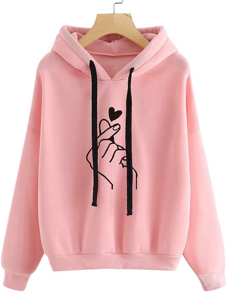 Hoodies for Women Teen Girls Cute Graphic Printed Long Sleeve Drawstring Pullover Sweatshirts Casual Hoodie Tops