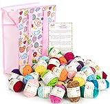 Mira Handcrafts - Bonos de 60 hilos para crochet y tejer, hilo acrílico en bolsa de lana y 7 libros electrónicos PDF con patrones de hilo incluidos – Kit de iniciación de hilo para manualidades
