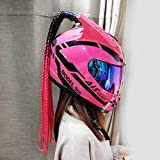 DYCLE Casco de Moto Integral Scooter Mujer y Hombre - Rosado Casco de Moto Motoclicleta Ciclomotor con Cuernos y Peluca Trenza Casco de Moto Crash,Color sunvisor,XXL