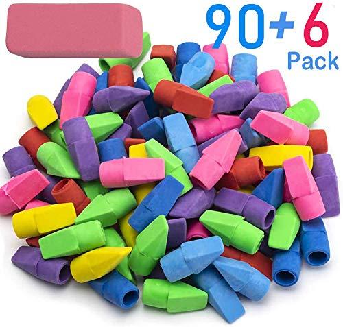 Sooez Pencil Erasers, 90 Pack Pencil Top Erasers & 6 Pack Pink Erasers, Cap Erasers Eraser Tops Pencil Eraser Toppers School Erasers for Kids School Supplies for Teachers Pencil Erasers