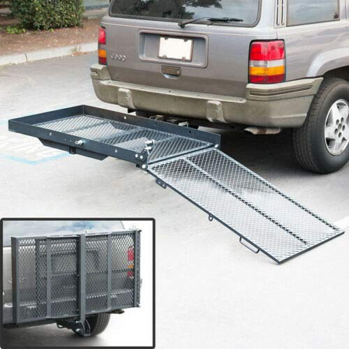 TKMD Folding Wheelchair Cargo Carrier Mobility Scooter Loading Ramp Heavy Duty Strong Hitch Cargo