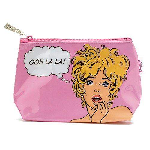 Catseye Kosmetiktasche - Comic Style Woman auf Pink