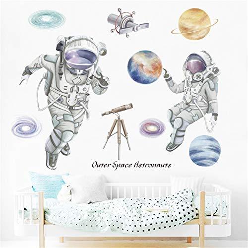 LucaSng Wandtattoo Kinderzimmer, Weltraum Planeten Astronaut Wandaufkleber Vinyl Tapete Wandsticker Dekoration für Junge Kinderzimmer Kindergarten