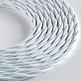 Klartext - Cable textil trenzado Lumiè RE para iluminación, 3 x 0,75 mm, blanco mate, 5 m. Atención: cable tierra incluido. Máxima seguridad antigolpes.