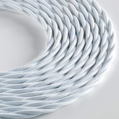 Klartext - Cavo tessile trecciato LUMIÈRE per illuminazione, 3x0,75mm, Bianco Opaco, 3mt. Attenzione: cavo terra incluso! Massima sicurezza anti scossa!