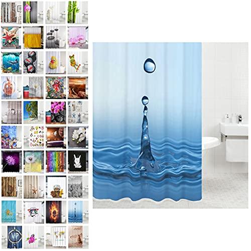 Sanilo Duschvorhang, viele schöne Duschvorhänge zur Auswahl, hochwertige Qualität, inkl. 12 Ringe, wasserdicht, Anti-Schimmel-Effekt (Tropfen, 180 x 200 cm)