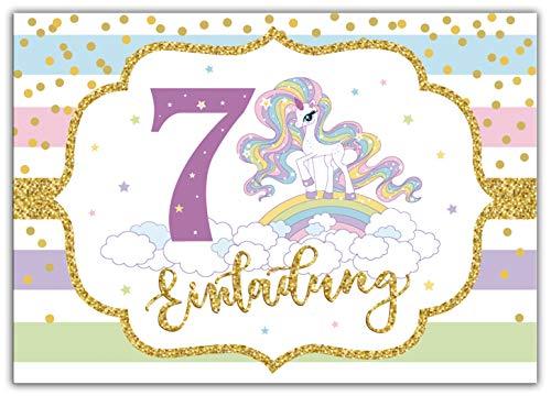 Junaversum 12 Einladungskarten zum 7. Kindergeburtstag Mädchen Einhorn Regenbogen Einladungen siebte Geburtstag