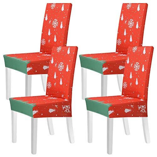 Beeager Christmas Chair Covers Decoration - 4 Pack Classic Stretch Removable Washable Christmas Chair Protector Slipcovers for Home, Kitchen, Dining Room Decor