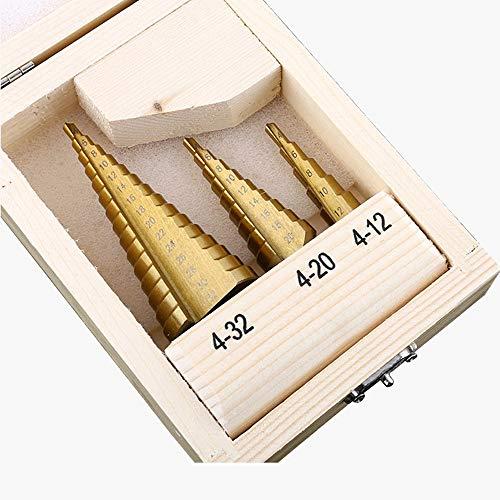 LIANGANAN Triángulo Mango Espiral escalonada Taladro Pagoda Broca Agujero Multiuso Escariador Placa de Hierro de Aluminio Placa de perforación 3pcs (Hole Diameter : Wooden Box 3pcs)