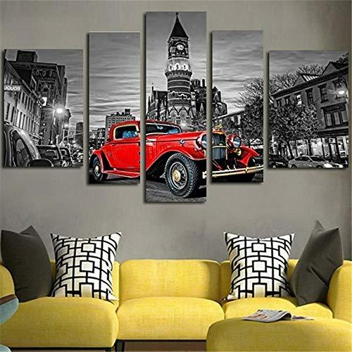 45Tdfc 200×100cmLienzo de Pintura 5 Piezas Black White City Sky Red Retro Coche 36 Lienzo Pintura Pared Arte Imagen para Sala Moderna impresión Dormitorio