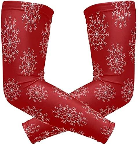 Ice Silk Andningsbar Armhylsa Julstjärna Nyår Snöflinga Uv-Skydd Solskydd Armhylsa För Män & Förstärkare Kvinnor Utomhussport Vandringshylsor 2 Par