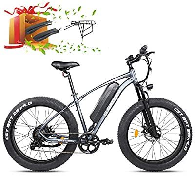 "750W/500W Mountain Electric Bike 26Inch ×4.0""/ 27.5Inch ×2.8"" Fat Tire Bike 48V 13AH Lithium Battery I-PAS 7 Speed Adult Bicycle 28MPH/25MPH Beach Snow Commute E-Bike 4.3"" Display (750W-26-GRAY)"