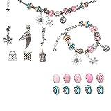 Surplex Charm Armband DIY Kit Geschenk für Mädchen, Perlen Armbänder Schmuckherstellung Bastelset Regenbogen Handwerk mit Anhänger Perlen Kette für Teens Valentinstag Jubiläum Geschenk Set