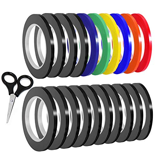 SIQUK 20 Packung Graphic Art Klebeband 3mm Chart Tape Grid Markierungsband PET Whiteboard Tape Selbstklebendes Dekorationsband Artist Tape mit Einer Schere