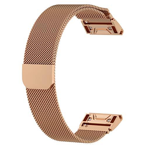 G-RF Bandas De Repuesto 26mm 22mm 20mm para Garmin Watch Universal Pulseras Magnéticas Metal De Liberación Rápida (26mm,Rose Oro)