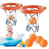 Heqishun 2 Ensembles de Cerceaux de Basket-Ball pour Le Bain avec 6 Balle Jouets de Bain pour Les Garçons et Les Enfants Jouets...