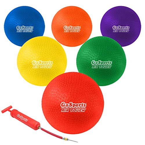 """GoSports 8.5"""" AIR Touch Playground Ball (Set of 6) with Carry Bag and Pump, Multicolor"""