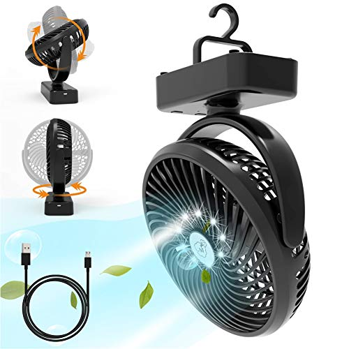 USB Personal Fan, Xumemall Indoor/Outdoor Portable Fan with LED Light, Rechargeable 5000mAh USB Camping Fan Built-in Hanging Hook, Desk Fan Kit for Office, Emergency Places, Camping, Tent, Car RV