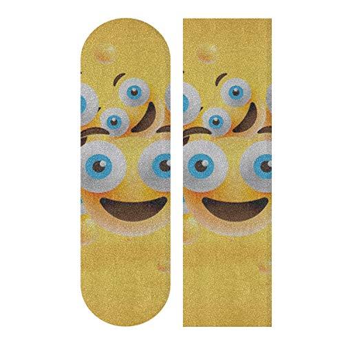 LIANGWE 33.1x9.1inch Sport Outdoor Farbiges Skateboard Griffband Smiley Gesichter Emotion Gesichtsausdruck Drucken Wasserdichter Longboard Aufkleber Für Tanzbrett Double Rocker Board Deck 1 Blatt
