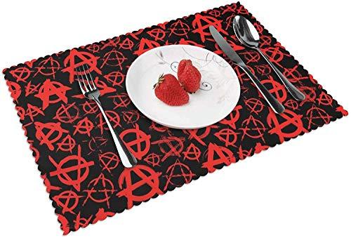 Anarchy Art - Tapetes de Mesa de Cocina Resistentes al Calor con Aislamiento Tejido de Vinilo Lavable, 18 x 12 Pulgadas
