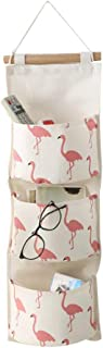 Aikesi Storage bag Cartoon Flamingo Pattern Cotton Linen Wall hanging wardrobe bag with Pockets 1pcs