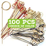 """4"""" Cocktail Picks   Fancy Toothpicks for Appetizers   Food Picks and Wood Cocktail Skewers   Bamboo Martini Picks   Mini 4"""" Bamboo Sticks with Loop Ring   Cocktail Sticks   Appetizer Picks…"""