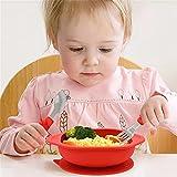 Feixunfan Set de Vajilla para Niños Platos para niños Baby Silicone Sucker Bowl Infantil Anti-Otoño Colisión Placa Vajilla Establecer Herramientas para Comer Regalo para Niñas Pequeñas