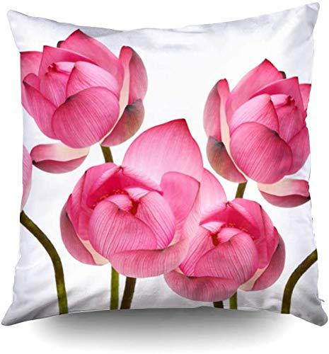 Fundas de almohada de cama, hermosas flores de loto aisladas en color blanco, fundas de almohada para sofá, decoración del hogar o dormitorio