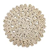Rattan Chargers Round Placemats Wicker Woven Natural Braided Table Mats Set Kitchen Decor Antislip Coasters 6-Pack CB-14