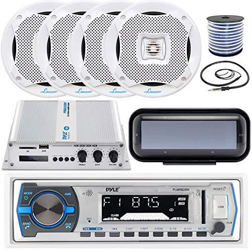 Pyle in-Dash Marine Boat AM/FM USB AUX Radio Headunit Receiver Bundle Combo with 4 x 6.5
